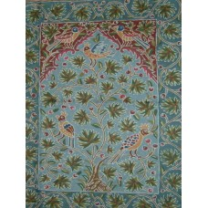 Crewel Rug Berry Birds Sky Blue Chain Stitched Wool Rug