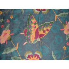Crewel Rug Butterfly on Flowers Blue Chain Stitched Wool Rug