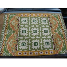 Crewel Rug Chariot Green and Orange Chain Stitched Wool Rug