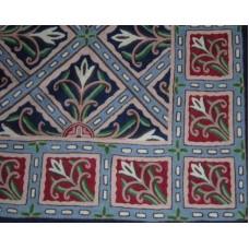 Crewel Rug Chokata Deep Blue Chain Stitched Wool Rug