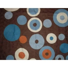 Crewel Rug Circles Brown Chain Stitched Wool Rug