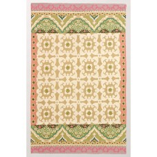 Crewel Rug Floral Fresco Desert Sand Chain Stitched Wool Rug