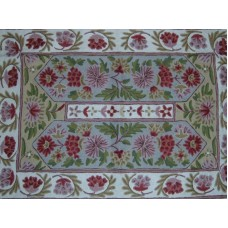 Crewel Rug Floral Vine Alley Multi Chain Stitched Wool Rug