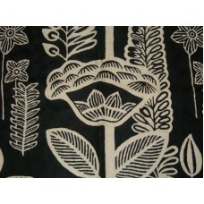 Crewel Rug Flowers in the Dark Black and White Chain Stitched Wool Rug