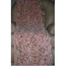 Crewel Throw Tree of Life Pink Pine Cotton Velvet