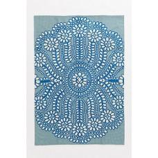 Crewel Rug  Ellie Blue Chain Stitched Wool Rug