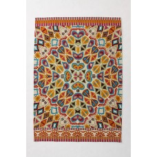 Crewel Rug Flutter Multi Pattern Chain Stitched Wool Rug