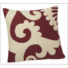 Crewel Pillow Graphic White on Red Cotton Duck (20X20)