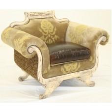 Crewel Konark Tan on Brown Cotton Velvet Upholstered  Settee