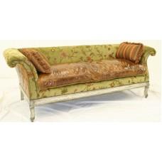 Crewel Warsi Olive Cotton Velvet Upholstered  Settee