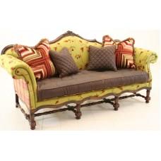 Crewel Winter Time Khaki Cotton Velvet Upholstered Settee