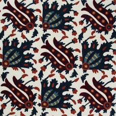 Crewel Fabric Arabesque Red and Blue Cotton Duck