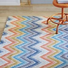 Crewel Rug Bargello Multi Chain stitched Wool Rug