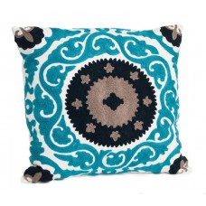 Crewel Pillow Barsha Turquoise Cotton duck