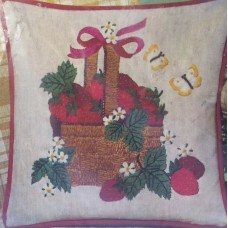 Crewel Pillow Basket of Strawberries Red on White Cotton Duck