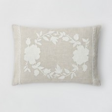 Crewel Pillow Beekman 1802 Stillwater White on Natural Brown Linen