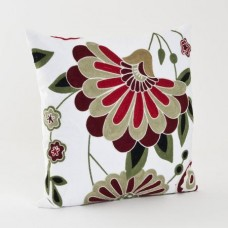Crewel Pillow Big Flower Red on White Cotton Duck
