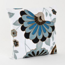 Crewel Pillow Big Flower Blue on White Cotton Duck
