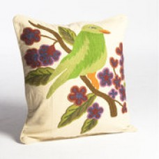 Crewel Pillow Bird Green on Cream Cotton Duck