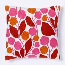 Crewel Pillow Blossoms Cayenne Cotton Duck