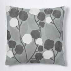 Crewel Pillow Blossoms Platinum Cotton Duck