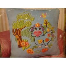 Crewel Pillow Blue Moo Cow Cotton Duck