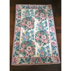 Crewel Rug Bold Floral Pastel Chain stitched Wool Rug