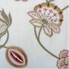 Crewel Fabric Brandy Rose/Green