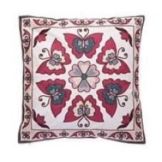 Crewel Pillow Butterflies Multi Cotton Duck