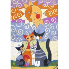 Crewel Rug Cat Family Multi Chain stitched Wool Rug