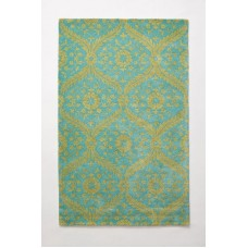 Crewel Rug Caterina Sage Chain stitched Wool Rug