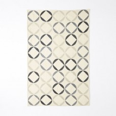 Crewel Rug Circlet Natural Chain stitched Wool Rug