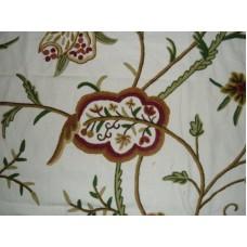Crewel Fabric Lotus Off White Cotton