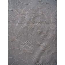 Crewel Fabric Antique Neutrals on Natural Brown Club Linen