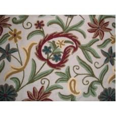 Crewel Fabric Floral Vine Paisley Natural Shock Cotton Duck