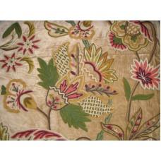 Crewel Fabric Flora Chocolate Brown Cotton Velvet