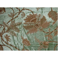 Crewel Fabric Flora Light Green Cotton Viscose Velvet