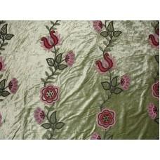 Crewel Fabric Floral Vine Creeper Light Green Cotton Viscose Vel