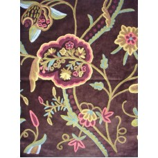Crewel Fabric Lotus Classic Turkish Coffee Cotton Velvet