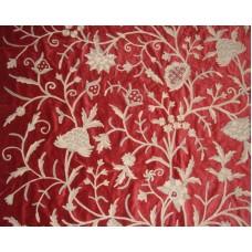 Crewel Fabric Tree of Life Neutrals on Red Cotton Velvet