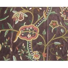 Crewel Fabric Lotus Classic Dark Chocolate Cotton Velvet