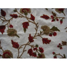 Crewel Fabric Winter Time Off White Cotton Duck