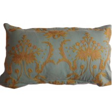 Crewel Pillow Bloom Teal Blue Cotton Duck- 20x36