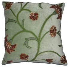 Crewel Pillow Bouvardia Light Pistachio Cotton Velvet