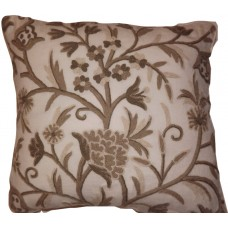 Crewel Pillow Tree of Life Neutrals on Natural White Wool (18x18