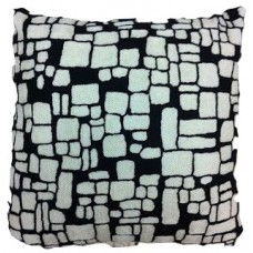 Crewel Pillow Ancient blocks Black and White Cotton Duck