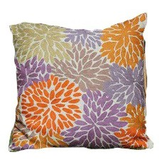 Crewel Pillow Bright Petal Rays Multi Cotton Duck