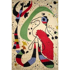 Crewel Rug Dancing Birds Contemporary Style Cream Background Chain stitched Wool Rug