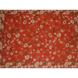 Crewel Rug Grapes Dreams Exotic Red Wool Chain Stitched (4X6 FT)