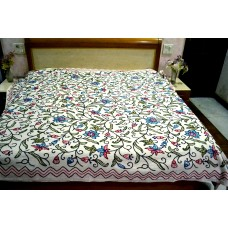 Flowers and Fruits Blue and Pink Crewel Bed Coverlet